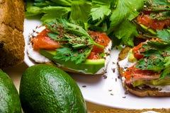 Sandwiches met avocado, forel en zure room, met kruidige dille wordt bestrooid die Selderiebladeren royalty-vrije stock afbeeldingen