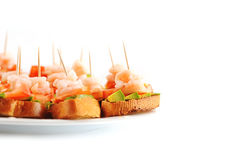 Sandwiches met garnalen Royalty-vrije Stock Afbeelding