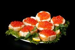 Sandwiches met kaviaar Stock Foto's
