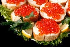 Sandwiches met kaviaar Stock Afbeelding