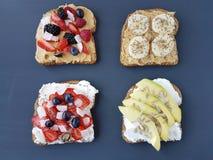 Sandwiches met pindakaas en kaas Royalty-vrije Stock Afbeelding
