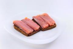 Sandwiches met rode vissen Stock Fotografie