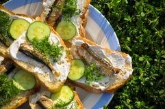 Sandwiches met sprotten op tarelke Royalty-vrije Stock Afbeeldingen