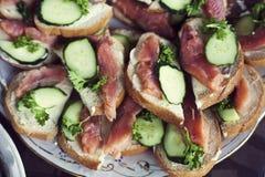 Sandwiches met zalm Stock Foto