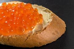 Sandwiches met Zalm rode kaviaar Stock Foto