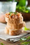 Sandwiches met zalmpastei Stock Fotografie