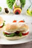 Sandwiches with mozzarella, tomato and lettuce Stock Images