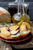Sandwiches with mushrooms and sour cream Stock Images