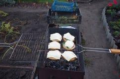 Sandwiches op de grill Royalty-vrije Stock Foto