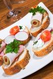 Sandwiches op vakantielijst stock foto