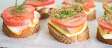 Sandwiches on paper Stock Photos