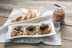 Sandwiches with pate and berry jam Royalty Free Stock Photos