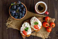 Sandwiches with pate cheese, garlic, slices of pepper, dill. Stock Photography