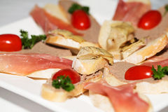 Sandwiches with pate and fish Royalty Free Stock Image