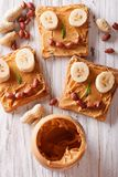 Sandwiches with peanut butter and banana for children Royalty Free Stock Photos