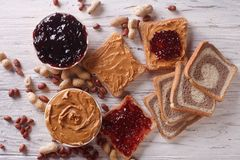 Sandwiches with peanut butter and jelly horizontal top view Royalty Free Stock Image