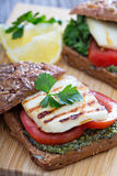Sandwiches with pesto, vegetables and haloumi Stock Image