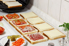 Sandwiches preparation. Royalty Free Stock Photos