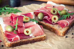 Sandwiches with prosciutto Royalty Free Stock Photos