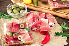 Sandwiches with prosciutto Royalty Free Stock Photo