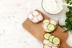 Sandwiches with radish and sour cream sauce Royalty Free Stock Photos