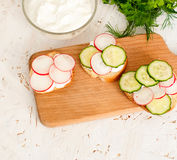 Sandwiches with radish and sour cream sauce. Spring snacks sandwiches with radish, cucumber and cream sauce. cream cheese with a plate and parsley Stock Image