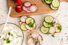 Sandwiches with radish and sour cream sauce. Spring snacks sandwiches with radish, cucumber and cream sauce. cream cheese with a plate and parsley Royalty Free Stock Photos
