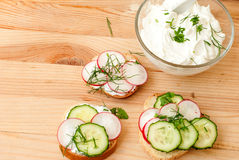 Sandwiches with radish and sour cream sauce. Spring snacks sandwiches with radish, cucumber and cream sauce. cream cheese with a plate and parsley Royalty Free Stock Photo