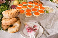 Sandwiches with red caviar. Stock Images