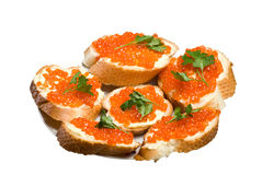 Sandwiches with red caviar. Royalty Free Stock Images