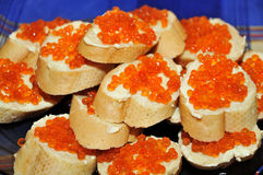 Sandwiches with red caviar. Royalty Free Stock Photos