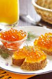 Sandwiches with red caviar Royalty Free Stock Images