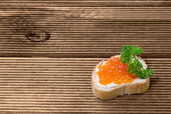 Sandwiches with red caviar Royalty Free Stock Photos
