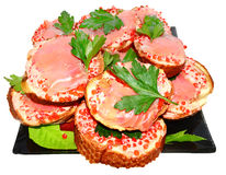 Sandwiches with red caviar royalty free stock photo