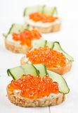 Sandwiches with red caviar and cream cheese Royalty Free Stock Image
