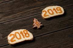 Sandwiches with 2018 and 2019 red caviar on different lines with small toy pine-tree between stock photos