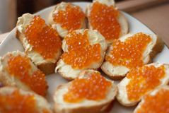 Sandwiches with red caviar Stock Image