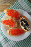Sandwiches with red caviar Royalty Free Stock Photography