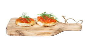 Sandwiches with red caviar Stock Photography