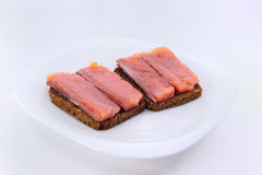 Sandwiches with red fish Stock Photography