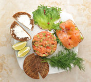 Sandwiches with red fish and tar-tar of salmon on a plate Royalty Free Stock Photography