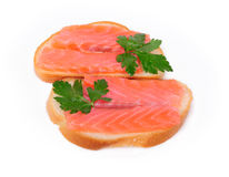 Sandwiches with red fish in a white Stock Image