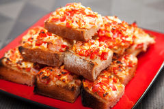 Sandwiches with red pepper and cheese Royalty Free Stock Images