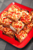 Sandwiches with red pepper and cheese Stock Image
