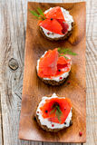 Sandwiches with red salmon and dill. Royalty Free Stock Image