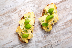 Sandwiches with Roquefort cheese Stock Image