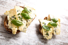 Sandwiches with Roquefort cheese Royalty Free Stock Photos