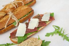 Sandwiches with rucola Stock Photo