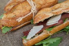 Sandwiches with rucola Royalty Free Stock Photos