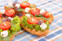 Sandwiches with rusks and vegetables Royalty Free Stock Photo
